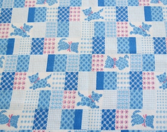 "Vintage Flannel Fabric - Blue & Pink Kitten Patchwork - 33"" x 36"""