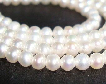 2-3mm, Full Strand, Wonderful Lustrous Round off Round Creamy White Tiny Fresh Water Pearls