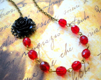 Red Gothic Necklace Red Necklace Black Rose Necklace Victorian Gothic Jewelry Flower Necklace Gothic Wedding Jewelry Victorian Wedding