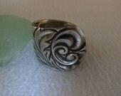 Art Nouveau  Antique Spoon Ring  Sterling Silver  Size 10.5