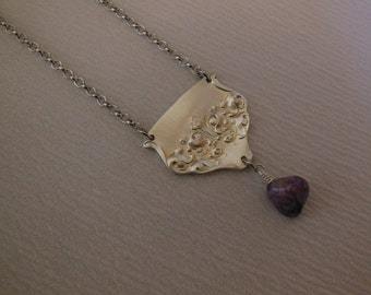 Amethyst and Silver  Freeform    Antique Fork Necklace