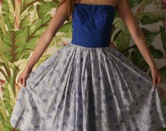 1950s Cotton Dress / Blue Strapless Full Skirt Dress / 1950's Pinup Dress / Floral Fifties Summer Dress / Bridal Party / English Rose