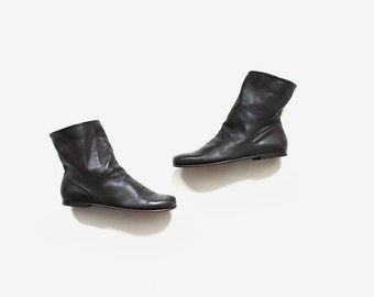 Vintage Ankle Boots 7 / Brown Leather Boots / Ankle Boots Women / Cuffed Booties / Slouch Boots