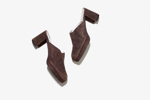 Vintage Leather Mules 7 / Brown Leather Mules / Suede Slip On Mules / Leather Clogs / Platform Mules / Leather Slip Ons