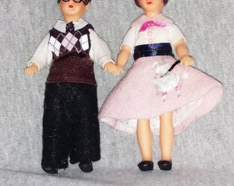 OOAK Vintage ARI Style Dolls, Teenage Boy and Girl, 1950s Outfits, Dollhouse NL