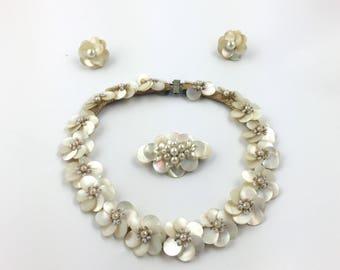 1920s designer MIRIAM HASKELL demi parure • vintage 20s mother of pearl jewelry set  • silk braid jazz age necklace