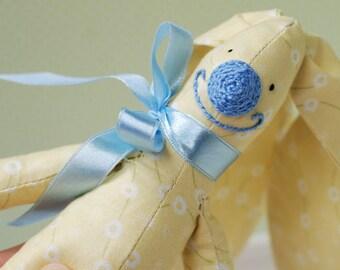 Bunny Hare Rabbit Fabric Cotton Toy Animal Baby Girl Soft Customized Toys Handmade Gift Yellow Blue