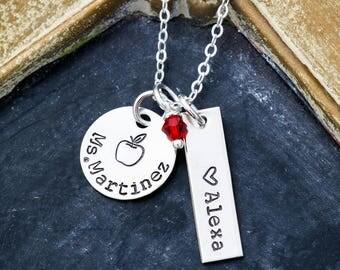SALE • Gift from Student Teacher Necklace Personalized Teacher Appreciation Gift Teacher Thank You Gift•Preschool Teacher Kindergarten Apple