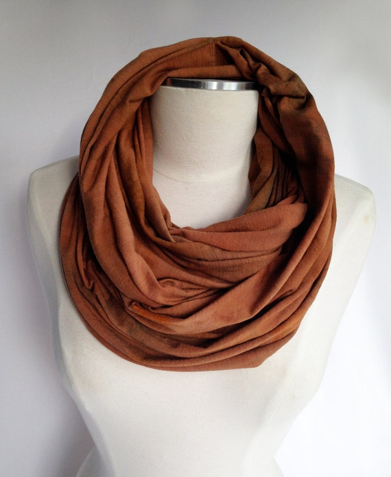 Merino infinity Scarf - NATURAL Dyed, Rust