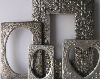 Vintage Silver Plated Picture Frame Set. Embossed Frames. Victorian Style Frames. Set of 4. Tabletop Frames w easels glass