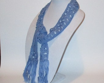 Periwinkle Blue Crochet Skinny Scarf with Tassel Fringe, Narrow Blue Neck Warmer Ready to Ship