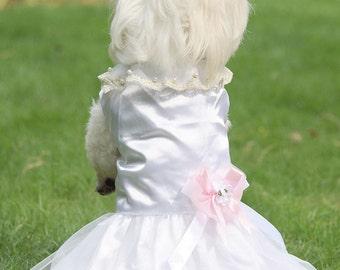 Pet Dog Tutu Lace Bead Flower Dress Wedding Gown Custom Princess Party Costume