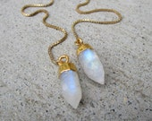 Rainbow Moonstone Gold Filled Threader Earrings LOVE Attracting Stone