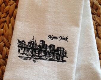 New York City Skyline - Fingertip Velour Bathroom Towel 11x18 - JD Designs