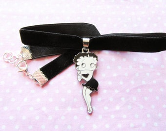 Betty Boop Charm Choker, Black Velvet Necklace, Choker Necklace, Cute Choker, Vintage Choker, Retro Choker, Black