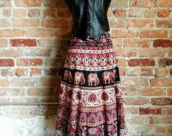 Vintage 70s Indian cotton wrap skirt midi Earth tones hippie boho festival free size ethnic