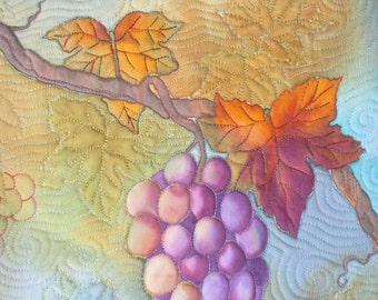 Quilted Hand Painted Grapes Wall Hanging Art Quilt Vineyard Quiltsy Handmade