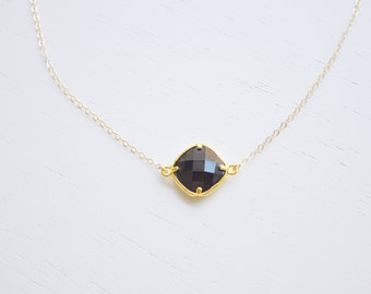 Jet Black Crystal Necklace - stone gem solitaire choker on gold filled chain dainty sparkle minimalist modern jewelry