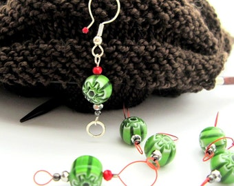 Bead Knitting Stitch Markers - Set of 7 - Round Green Millefiori Bead Markers with One Removable Marker