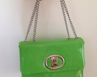 From my own personal collection!! A 60s gogo day or evening bag in neon green