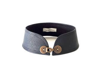 Black Leather Choker For Women - Wide Detached Collar Necklace with Antique Brass Button Closure - Available in Sizes X-Small thru X-large