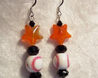 Orange Earrings, Baseball Earrings, Black and Orange Earrings, Oregon State University Earrings, Oregon Beavers Earrings, Clip ons Available