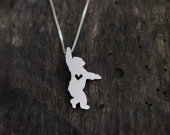 Gorilla Silver Backed, tiny sterling silver hand cut wildlife pendant with heart