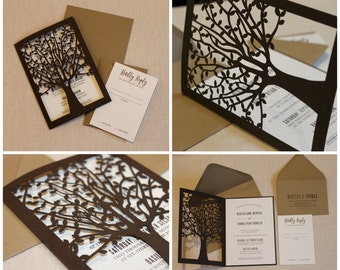Laser Cut Tree Invitation