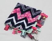 Baby Ribbon Tag Blanket - Minky Binky Blankie - Hot Pink, Navy, Mint Chevron