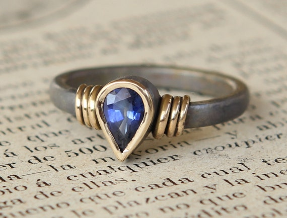 Hand Forged .75 CT Unheated Natural Blue Sapphire Ring Oxidized Sterling And 18K Gold SZ 7.5