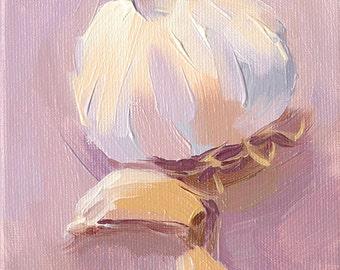 garlic cloves kitchen art oil painting giclee print - 5x7 - Garlic sur la Violette - The Italian Collection