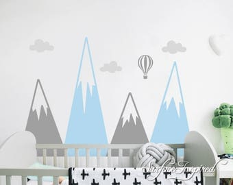Wall Decals Personalized Snow Mountains With Hot Air Balloons AND Clouds Wall Decals Large Stickers Vinyl Decal Stickers Nursery
