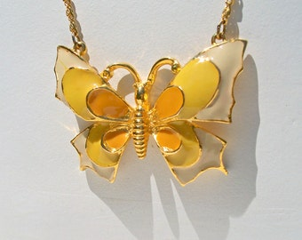 SALE Retro Yellow Enamel Butterfly Pendant Necklace Signed Art 1970's Costume Jewelry