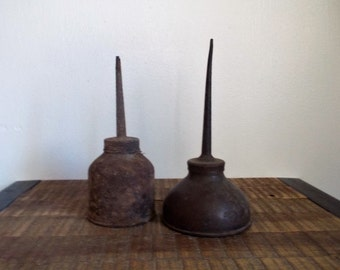 Pair of Primitive Rusty Vintage Oil Can Oilers