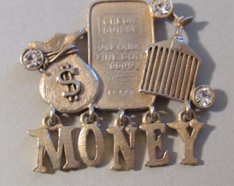 Money Magnet - OOAK Recycled/Repurposed Magnet - Money Brooch