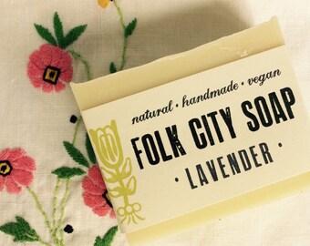 One bar of Folk City Lavender Soap: handmade, natural, vegan