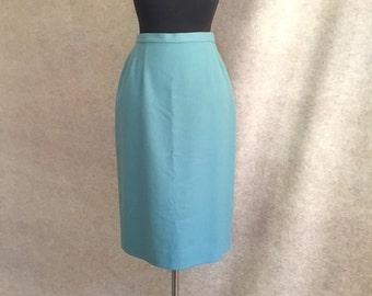 Vintage 70's Pendleton Wool Skirt, Light Blue Straight Skirt, Wool Flannel, Size Small, Waist 25, 50's Style, SALE