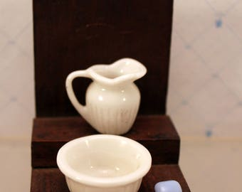 Miniature Dollhouse Pitcher Wash Basin Soap 1 inch Scale