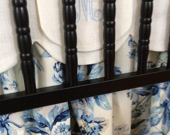 Blue Peony Crib Skirt...Adjustable Three Sided