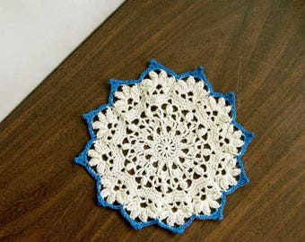 Textured Doily, Cottage Chic Crochet Lace Doily, Blue, Ecru, New Table Decor, Something Blue for Bride, Home Decor, Charming, 7 Inch Doily