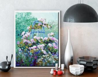 "Impressionist garden art, Pink Roses floral painting, palette knife flower painting, Summer Flowers,  Modern Impressionist art, ca.10x12"""