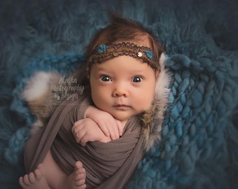 brown and teal blue soft lace knit newborn headband bow