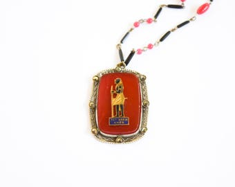 Antique Art Deco Egyptian Revival Glass Necklace c.1920