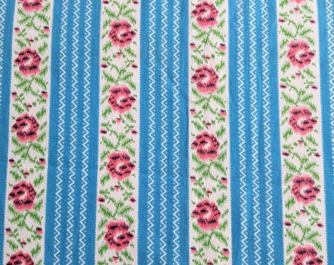 Robin's Egg Blue Pillow Ticking Fabric -1940s Striped Cotton - NOS