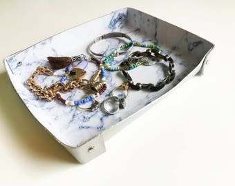 Leather Catchall Marble Silver Jewelry Caddy Make Up Dish Office Desk Catchall Guy Valet Catchall Girl Ring Organiser Moms Desk Tray Basket