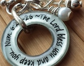 The Lord bless you and keep you... Numbers 6:24-26 prayer of blessing scripture Bible verse 13/16 in. silver washer pendant with chain