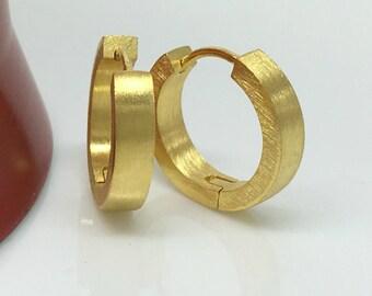 Men's hoop earrings, citron gold hoop earrings for men, men's earrings, yellow gold plated hoop earrings, large hoop earrings, E190MY