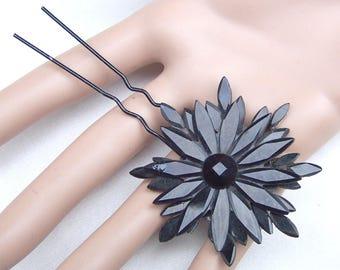 French jet star hair pin Victorian mourning hair comb hair accessory decorative comb hair jewelry hair ornament