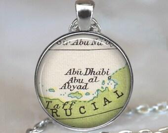 Abu Dubai map necklace, Abu Dubai pendant, Abu Dubai necklace, Abu al Abyad map pendant, UAE map pendant key chain