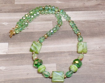Green Beaded Necklace - OOAK - Statement Necklace